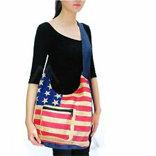 USA American Flag Shoulder Bag Burlap Jute Handbag Sling Boho Hippie Gypsy PURSE
