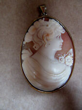"""14K Gold Hand Carved Mary Madonna Shell Cameo Pendant Brooch 2.5"""" X 1"""""""