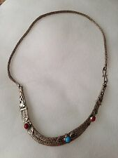 Tibetan Silver Necklace with Gem stones- Turquoise & Coral