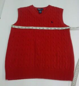 Polo Ralph Lauran Boys Medium 10-12 Red Cable Knit Sweater Vest V-Neck Mint