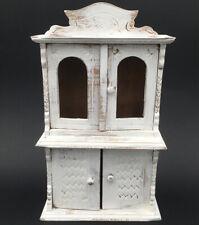 Ancien Meuble Buffet de Maison de Poupée Bois Peint Patiné Blanc Doll Furniture