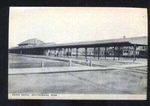 HATTIESBURG MISSOURI RAILROAD DEPOT TRAIN STATION POSTCARD COPY MISS.
