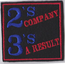 2'S COMPANY 3'S A RESULT BIKER PATCH TRIKER MOTORCYCLE