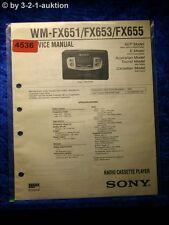 Sony Service Manual WM FX651 /FX653 /FX655 Cassette Player (#4536)