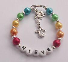 Rainbow bridge loss pet dog cat horse hamster rabbit  pearl  bracelet + card