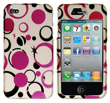 Apple iPhone 4 4S Rubberized HARD Protector Case Phone Cover Silver Purple Dots
