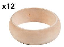 """12 Unfinished Wood Bangle Bracelets Wooden Craft 8"""" Diy Bracelet Bulk -Us Seller"""