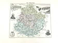 1893 Antique Map of Sarthe Le Mans France French Regional Hand Coloured