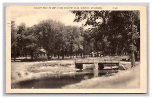 Vintage Postcard Wisconsin, County Park with Bridge, Waupun WI