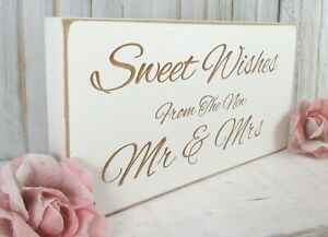 Sweet Table Wedding Sign Sweet Wishes Free Standing Vintage Shabby & Chic White