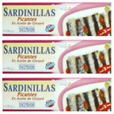 6 CANS SPANISH SARDINES HOT SAUCE TOMATO RICH IN  OMEGA 3 - 90 Gr - EXPIRE 2022