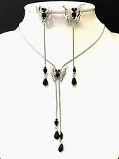 Long dangle butterfly necklace and earrings set in silver and black colour