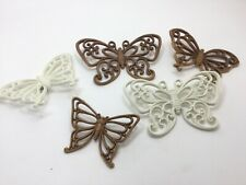 Homco Ivory Brown Plastic Rattan Wicker Butterfly Wall Plaques 3D Decor Vintage