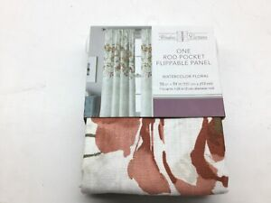 """CHF Watercolor Floral Curtain Panel, 84"""", Spice"""