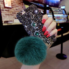 Fluffy Ball Bling Diamond Metal Wrist Chain Strap Case Cover For iPhone 6 7 Plus