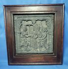 """stone temple relief plaque in wood frame 8.5 x 8.75"""""""