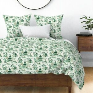 Chinoiserie Green Landscape Bright Room Asian Sateen Duvet Cover by Spoonflower
