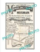 OLD LARGE HISTORIC POSTER OF SYDNEY NSW LAND SALE POSTER MOSMAN c1900