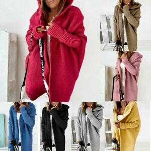 Women Long Sleeved Knitted Cardigan Open Front Sweater Casual Hooded Coat Jacket