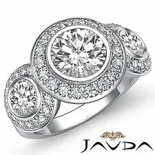 3 Stone Pave Set Round Diamond Engagement Ring GIA F VS2 14k White Gold 2.15ct