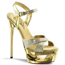 Gold Glitter Chrome Sexy Platform Heels Salsa Dance Stripper Dancer Shoes 7 8 9