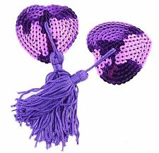 Bijou de seins, cache tétons nipples paillettes violet, Nippies, accessoire sexy