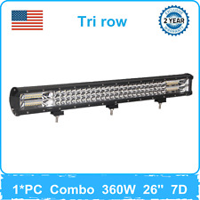 360W 26''inch LED Light Bar Combo Tri row 7D Lens fit Bumper F150 Chevy Boat