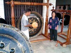 "Thai Gong Rare Authentic Buddhist Temple 60"" Hammered Nipple Bronze w/ Striker"