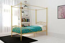 Twin Full Gold Metal Canopy Bed Frame Heart Scroll Headboard Footboard Bedroom
