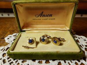 Vintage Anson Genuine Linde Star Tie Tac & Cufflinks Gold Tone w/Box