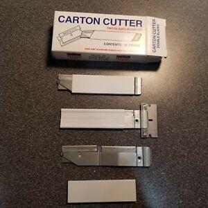 12 Carton Cutter Made in USA Compact Utility Retractable - RARE DOUBLE BLADE!