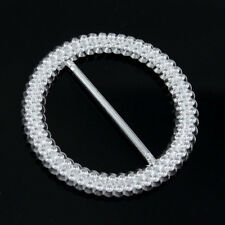 50 Pcs 53 mm Round Chair Sash Plastic Acrylic  Ribbon Buckle Slider Silver Tone