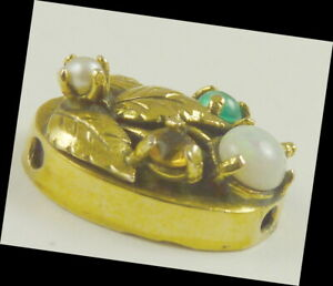 Gemstone Slide Charm Vintage 14K Gold Opal Pearl Topaz & Green Stone