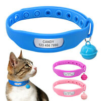 Personalized Dog Collar Silicone Pet Cat Name ID Collar Tag & Bell for Chihuahua