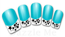3D Nail Art Decals Transfer Stickers French Tip Design Flowers Stars (3D835)