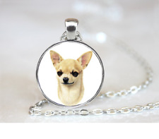 Chihuahua Shorthair PENDANT NECKLACE Chain Glass Tibet Silver Jewellery