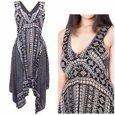 Ladies Long Black Floral Summer Dress Plus Size 18 20 22 strappy hanky hem