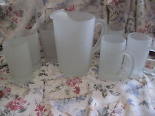 Tiara Frosted Etched Glass Pitcher and 6 Mugs