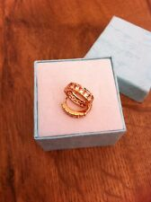 STUNNING  9CT ROSE GOLD FILLED PRINCESS CUT STYLE CUBIC ZIRCON HOOP EARRINGS