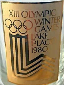 Vtg 1980 Lake Placid Winter Olympic Whiskey Rocks Glass Barware Collectible