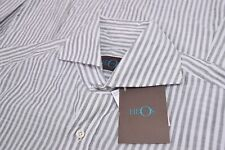Eidos NWT By ISAIA Button Front Shirt Size 15.74/40 Gray & White Stripes