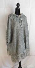 Poncho Shawl Long Sweater Hoodie Tassels Cream Black Grey size M - L