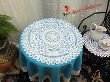 Vintage Full Battenburg Lace Doily/Table Topper/Centerpiece~Round~White~