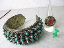 Alte Armspange Armreif + Ring T-Silber Unikat Türkis original Tibet ~1970 63mm