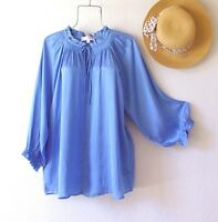 New~Blue Peasant Blouse Shirt Ruffle Romantic Spring Plus Size Boho Top~2X