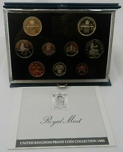 1989 GREAT BRITAIN / UK OFFICIAL PRESTIGE PROOF SET (9) w BILL & CLAIM RIGHTS £2