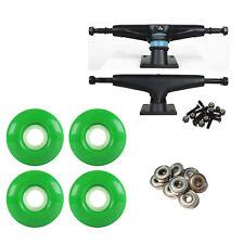 Skateboard Trucks Black/Black 52mm Green Abec 9 Bearings Combo