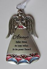 J Always take time say ur heart Stained glass look Guardian Angel Ornament Ganz