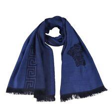 Versace Men's Blue 100% Wool Scarf Shawl One Size