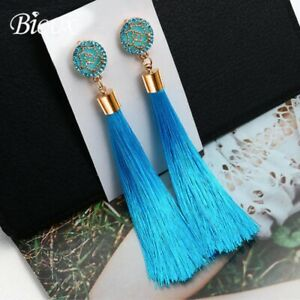 Trendy Boho Long Tassel Earrings Fringe Tassel Crystal Dangle Drop Earrings UK